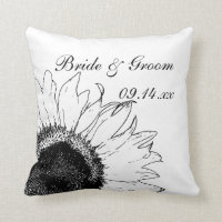 Black and White Sunflower Wedding Throw Pillow