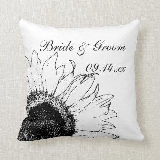 Black and White Sunflower Wedding Throw Pillow
