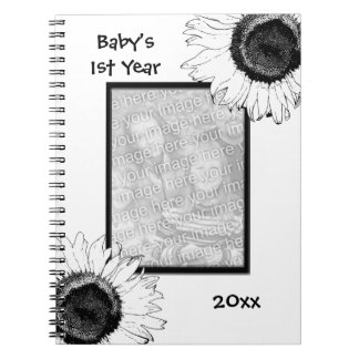 Black and White Sunflowers Baby's First Year Spiral Notebook