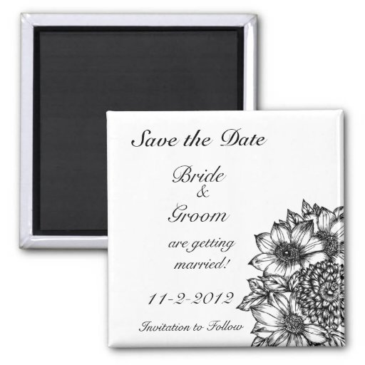 Black and White Sunflowers Save the Date Magnet