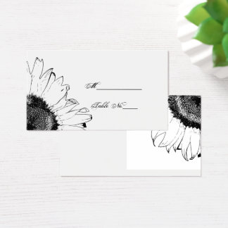 Black and White Sunflowers Wedding Place Card