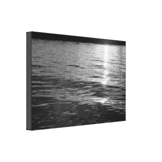 Black and White Sunlight Reflection Rippled Water Canvas Print