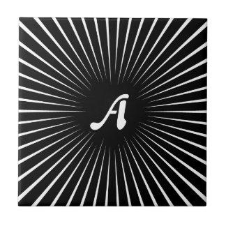 Black and White Sunrays Monogram Ceramic Tile