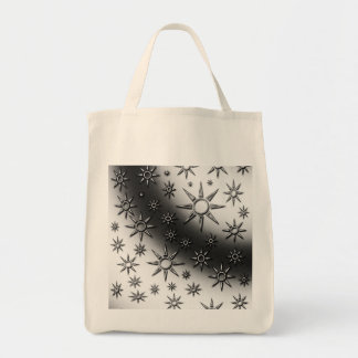 Black and white suns pattern canvas bag