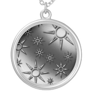 Black and white suns pattern personalized necklace