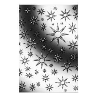 Black and white suns pattern photo print