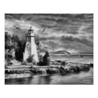 Black and White Sunset Ocean Lighthouse Poster