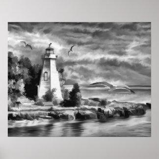 Black and White Sunset Ocean Lighthouse Poster