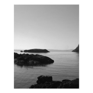 Black and White Sunset Ocean Scene Letterhead