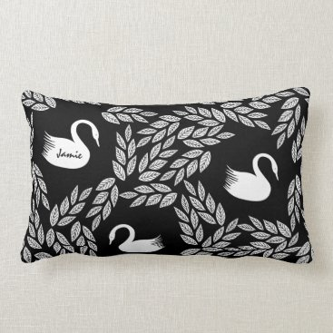 Beach Themed Black and White Swan Any Color Lumbar Pillow