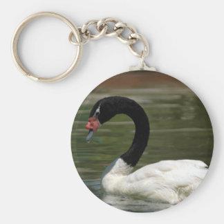 Black and White Swan Keycahin Basic Round Button Keychain