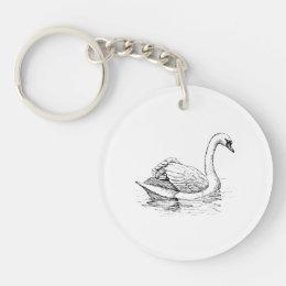 Black and White Swan Keychain