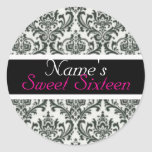 "Black and White ""Sweet Sixteen"" Party Favor Label Sticker"