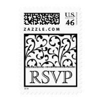 Black  White Polka  Dress on Black And White Swirl Damask Rsvp Wedding Stamp Postage