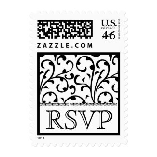 Black and White Swirl Damask RSVP Wedding Stamp stamp