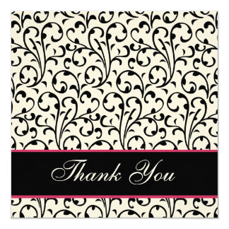 Black and White Swirl Damask Wedding Thank You Card
