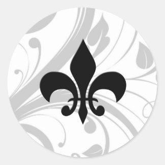 Black and White Swirl Fleur De Lis Sticker