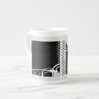 Black and White Swirl Flourish Grid Bone China Mug