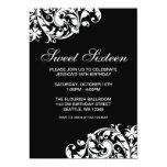 Black and White Swirl Flourish Sweet 16 Birthday 5x7 Paper Invitation Card