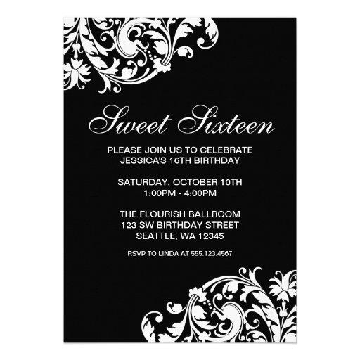 Black and White Swirl Flourish Sweet 16 Birthday Invites