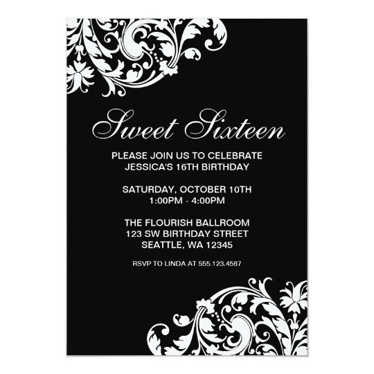 Black And White Swirl Flourish Sweet 16 Birthday Invitation Zazzle