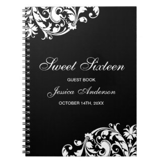 Black and White Swirl Flourish Sweet 16 Guest Book Notebook