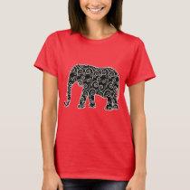 Black and White Swirl Pattern Elephant Shirt