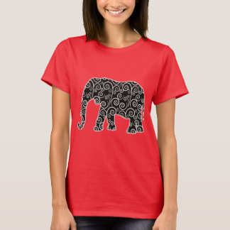 Black and White Swirl Pattern Elephant Shirt