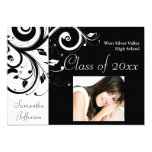 Black and White Swirl Photo Graduation Card