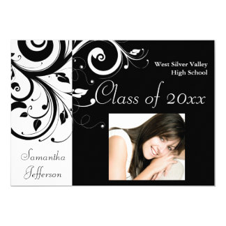 Black and White Swirl Photo Graduation Card