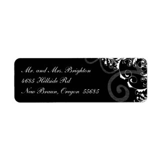 Black and White Swirl Return Address Label