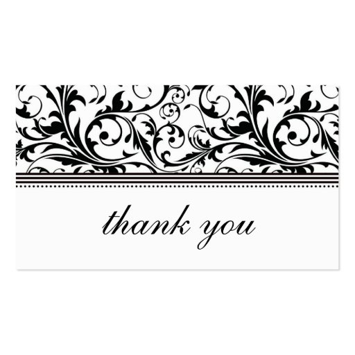 Black And White Swirl Thank You Card Double Sided Standard Business Cards Pack Of  Zazzle