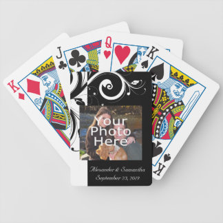 Black and White Swirl w/Color Photo Bicycle Playing Cards