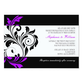 Black and White Swirl Wedding Invitation
