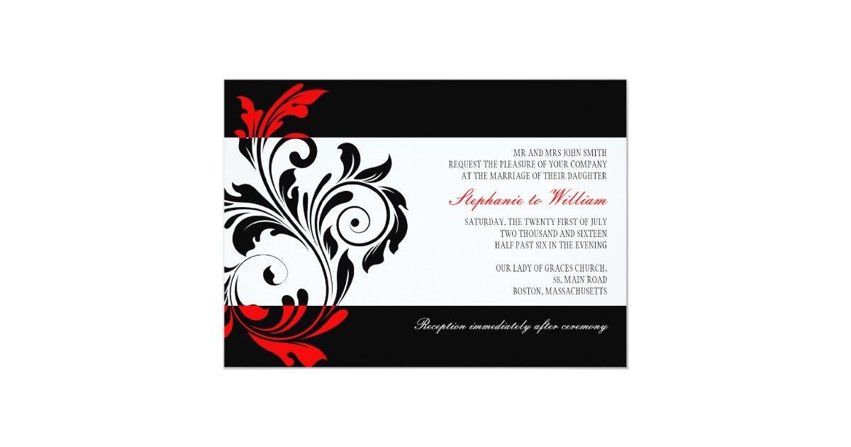 Black And White Swirl Wedding Invitation With Red Zazzle Com