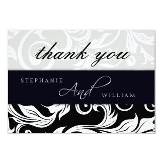 Black and White Swirl Wedding Thank You Card