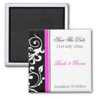 Black and White Swirl With Hot Pink Save The Date 2 Inch Square Magnet