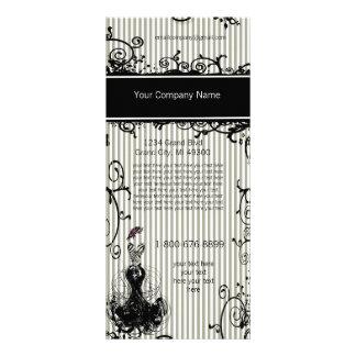 Black and White Swirled Striped Rack Card