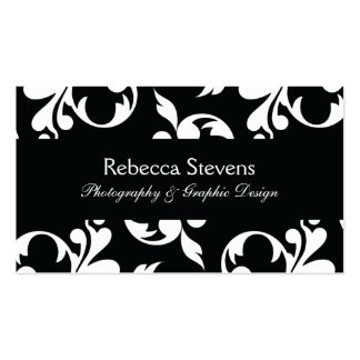 Black and White Swirling Vine Business Card