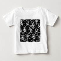 Black and White Swirls and Dots. Baby T-Shirt