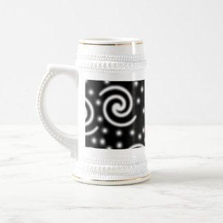 Black and White Swirls and Dots. Beer Stein