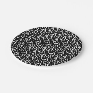 Black and White Swirls and Dots Pattern Paper Plate