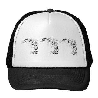 Black And White Swirls And Twirls Mesh Hats