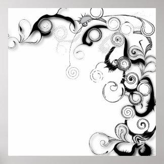Black And White Swirls And Twirls Poster