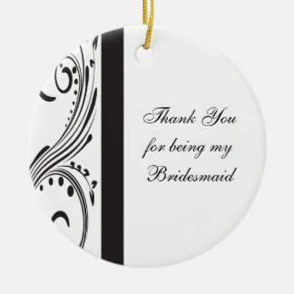 Black and White Swirls Bridesmaid Thank You Double-Sided Ceramic Round Christmas Ornament