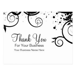 Black and White Swirls :: Business Postcard Templa