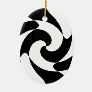 Black And White Swirls Ceramic Ornament