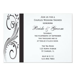 Black and White Swirls Couples Wedding Shower Card