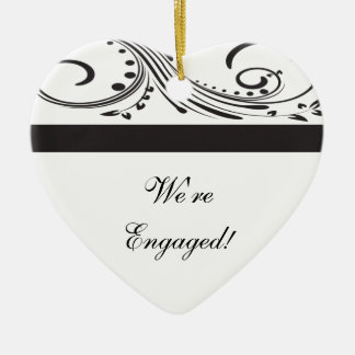 Black and White Swirls Engagement Ceramic Ornament
