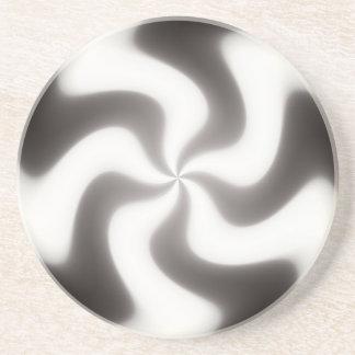 Black and White Swirls Pattern Sandstone Coaster